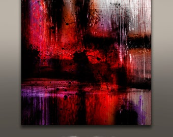 "Acrylic abstract painting giclee  print ""Red Tide"" modern contemporary room decor, fully stretched canvas wall art"