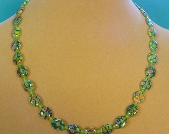"Pretty 18"" Green Milliflori Necklace - N353,354"