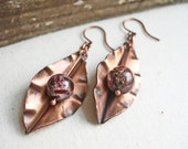 Copper Metalwork Earrings, Copper Drop Earrings, Rustic Copper Earrings Copper Leaf Earrings Organic Earrings Earth Tone Earrings Rustic