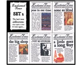Another Set of 5, Fairytale Newspaper Archive - Enchanted Times Mini Zine back issues - whimsical fractured fairy tale fiction, Grimm humour