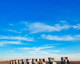 Cadillac Ranch, public art installation in Texas, americana, classic car vertical color photograph 8x12, 12x18, 16x24