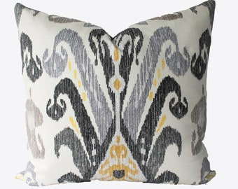 Decorative Designer Nate Berkus Kopacki Ikat, Pillow Cover, 18x18, 20x20, 22x22 or Lumbar Throw Pillow