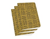 Cute Pocket Notebook - Gold Ochre Squiggle - Sketch Pad, or Composition Notebooks