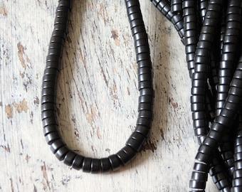 Black howlite beads - strand, howlite rondelle beads, 6x3mm black howlite beads, smooth black rondelles, mala beads, designs for men