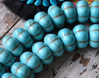 HALF strand large turquoise howlite beads, 14x8mm turquoise flat melon shape beads, large howlite beads, turquoise howlite pumpkin beads