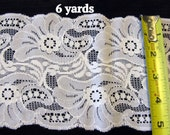 Wide Lace Trim White 6 Yards Flat
