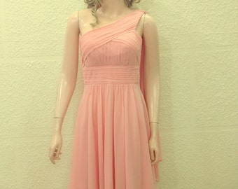 Light Pink Bridesmaid Dress. One Shoulder Dress.