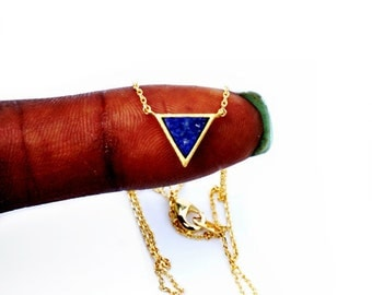 Tiny Gold Lapis Stone Triangle Chevron Necklace - Dainty, Simple, Birthday Gift, Wedding Bridesmaid Gift