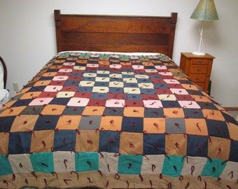 "Vintage Knotted Quilt Patchwork Pieced Blanket Comforter 78"" x 86"""