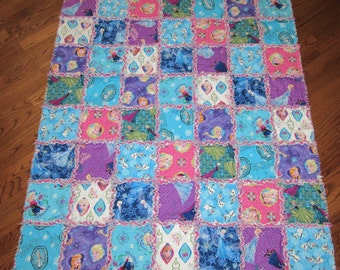 "FROZEN Fabric Rag Quilt Elsa Anna Olaf LARGE Child Size 45"" x 51"" Toddler Baby"