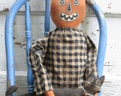 Primitive Grungy F/A~Pumpkin Doll w/Mischievous Cat Set~HAFAIR