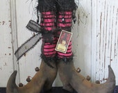 "Primitive Halloween Witch Boots ~9"" tall w/Stripe Print Fabric Stockings~HAFAIR"