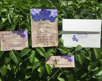 Purple Flower Garden Invitation Set