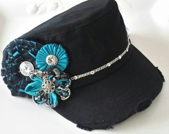 Turquoise Black and Bling Distressed Cadet Hat