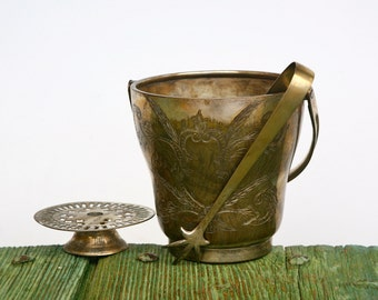 Indian brass ice bucket with tongs