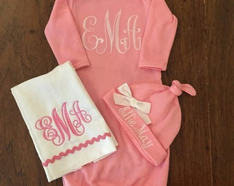 Baby Girl Take Home -Outfit Monogram Layette Gown, Hat,  Personalized Hat New Baby Girl Gift