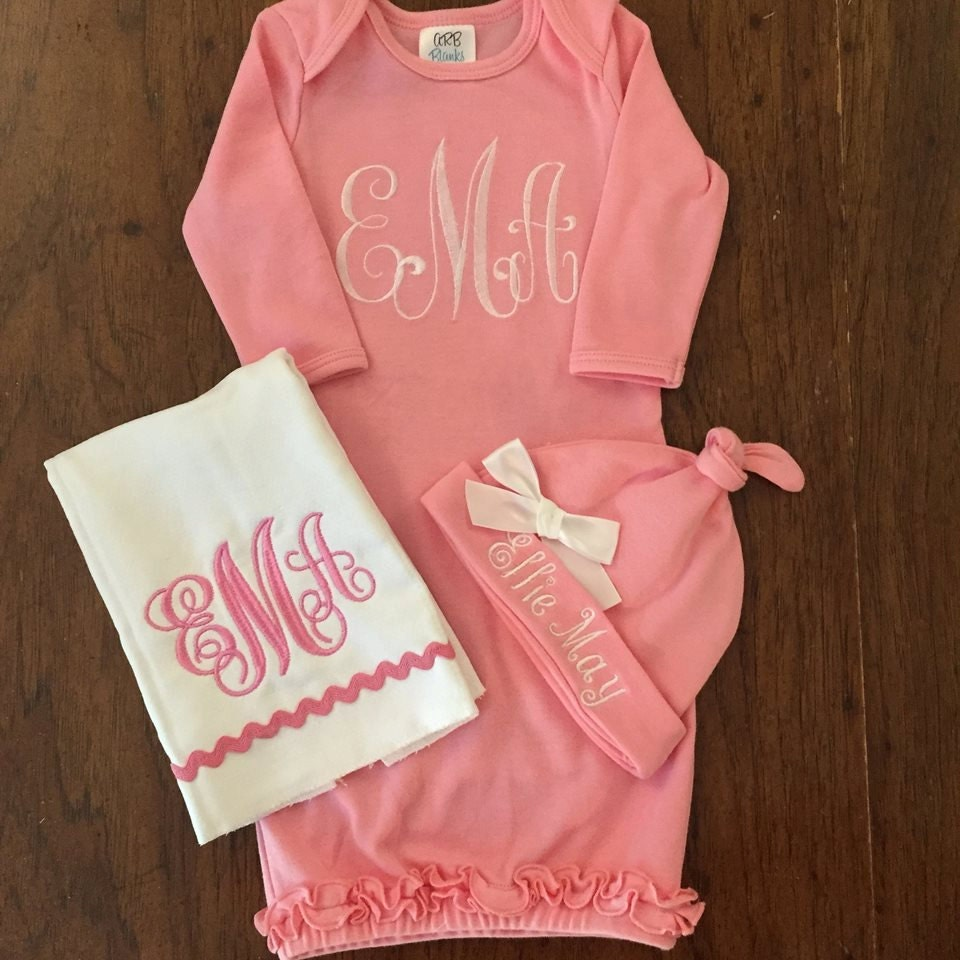 baby girl take home outfit monogram layette gown hat