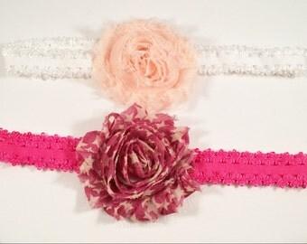 Peach & Star Tattered Rose headband set, Flower Stretch Headband, photo prop headband, toddler flower headband, baby shower gift