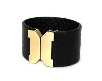 114 BLACK-Wide Face Metal Leather Bracelet