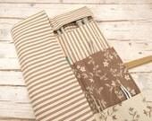 Knitting Needle Case, Knitting Needle Roll, Paintbrush Roll, Tool Organizer, Light Brown Striped Fabric
