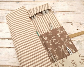 Knitting Needle Case, Knitting Needle Roll, Paintbrush Roll, Tool Organizer, Light Brown Striped Fabric