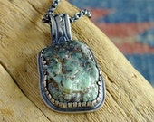 Damele Green Turquoise raw nugget pendant antiqued, oxidized silver.