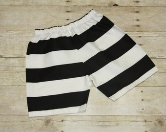 Sz 4t Ready to Ship Boys black White Stripe Shorts Riley Blake Boys Outfit School Shorts