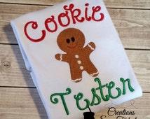 Cookie Tester Shirt - Christmas Cookie Tester Shirt or Onesie - Christmas Shirt - Embroidered Gingerbread Shirt - Kids Christmas Shirt