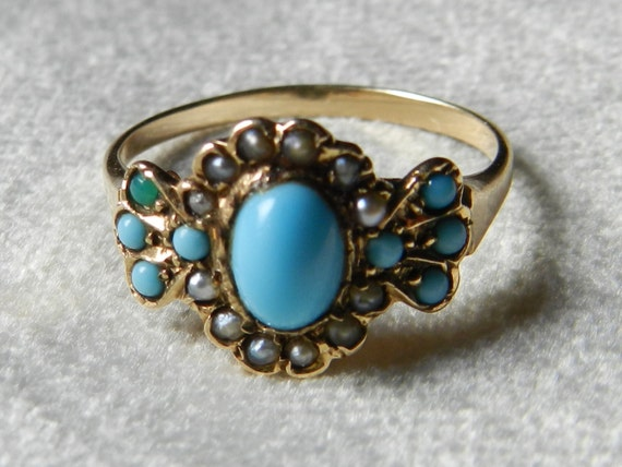 Victorian Turquoise Ring 1800s Rose Gold by LoveAlwaysGalicia