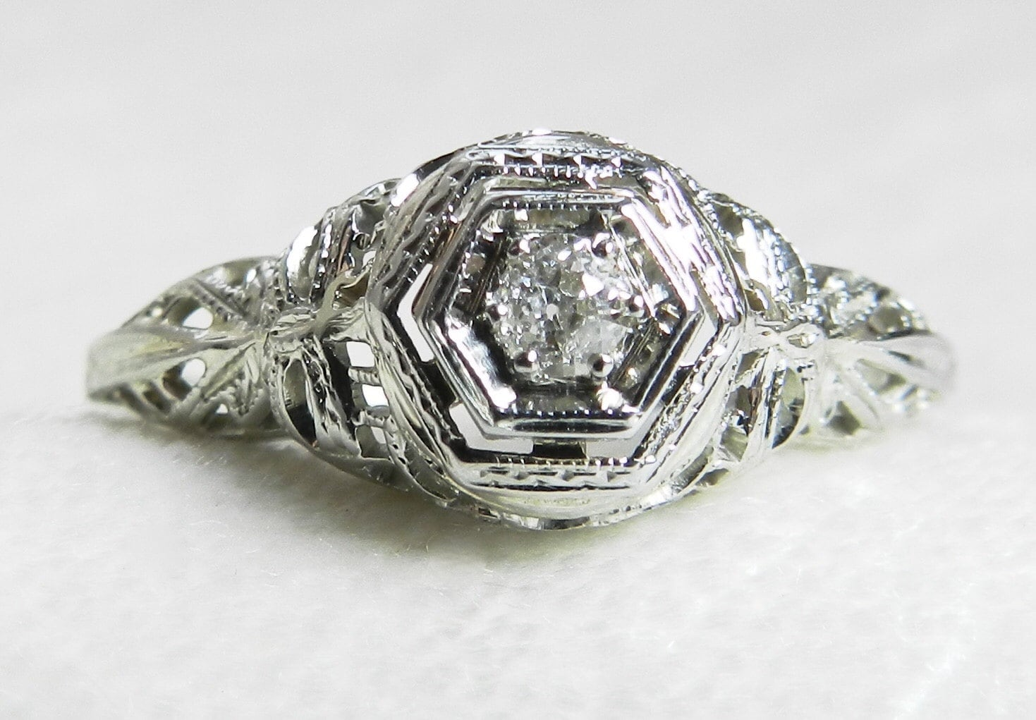 antique engagement ring deco engagement ring 18k white gold 1920s engagement ring