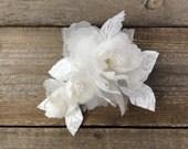 Autumn, off white silk organza lace bridal hair piece, floral wedding hair adornment with stamens