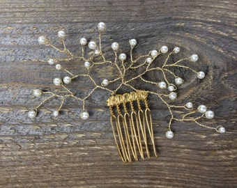 Quin, Gold hair vine branches with pearls, golden hair comb with wired pearls