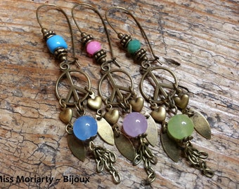 Hippie Chic Peace And Jade Earrings