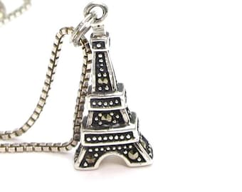 Vintage Eiffel Tower Pendant - Sterling Silver Marcasite Eiffel Tower Pendant Necklace - Paris Charm - France Keepsake - Weight 4.7 g # 4133
