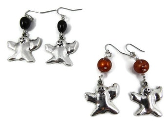 Ghost Earrings with choice of black or orange beads