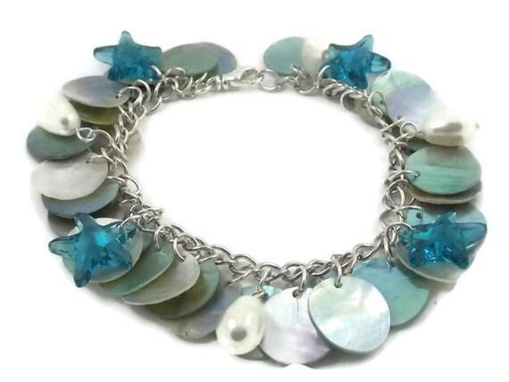 Swarovski Starfish Bracelet with Pearls and Mussel Shells