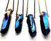 Raw Crystal Necklace | Blue Rainbow Aura Titanium Quartz | Stirling Silver, Silver-Plated, Gunmetal, Antiqued Brass, Antiqued Copper