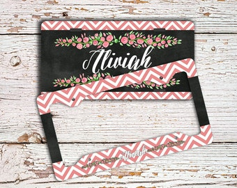 Chalkboard style license plate or frame, Roses car tag, Monogram bicycle license plate, Chevron auto accessories, Cute Gift for women (1430)