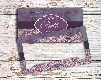 Monogram license plate or frame, Distressed eggplant purple damasks, Personalized name car tag, Pretty bike license plate bicycle (9698)