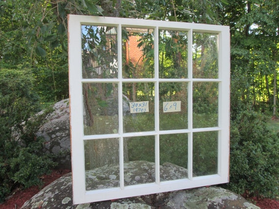 30x31 vintage window sash 12 panes from 1970s