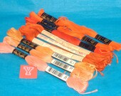 Large Assortment of Vintage Oranges Embroidery Floss - DMC, Peri Lusta, Star- 9 Skeins - Brand New - Destash Y