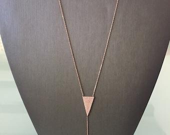 Double Arrow Lariat Necklace-Rose Gold