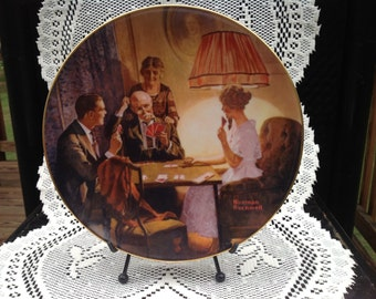 Vintage Norman Rockwell Collectable Plate ( Rockwells First In The Light Campaign Series )