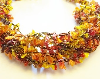 Crocheted Bracelet with Autumn Colors: Orange, Brown, Yellow