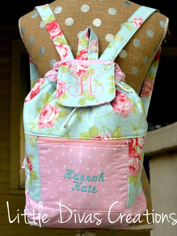 Handmade Diaper Bags : Handmade personalized vintage backpack diaper bag weekender