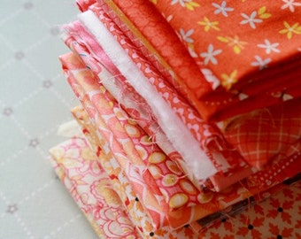 Scrap Bag 12 assorted Orange Quilt Shop Fabrics 1/4 yard cuts. Great Stash Builders! Many Colors available.