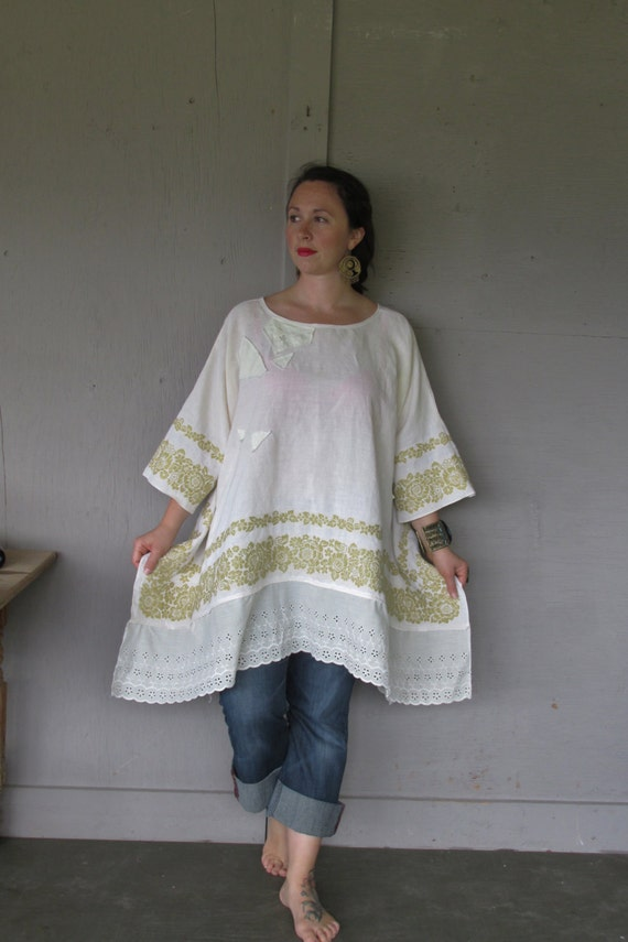 best shabby chic blogs linen tunic upcycled plus size clothing 3 x 4 x 10462