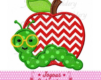 Instant Download Back to school Apple With Worm Applique Machine Embroidery Design NO:1768