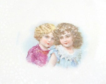 Antique Plate Round Portrait Plate Little Girls Sisters Daughters Ivory & Yellow Owen China Company Worlds Fair 1906