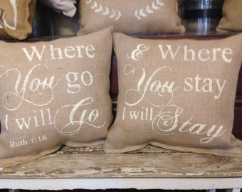 Christian decor, bible verse, scripture verse,Where you go, i will go pillow set, valentines day gift
